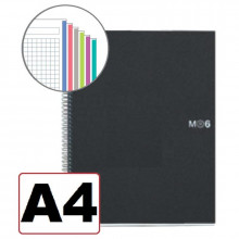 NOTEBOOK A4 CUADRICULA 6 COLORES T/NEGRO 150H