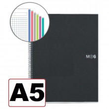 NOTEBOOK A5 CUADRICULA 6 COLORES T/NEGRO 150H