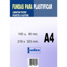 FUNDA DE PLASTIFICAR A4 80MC 100U