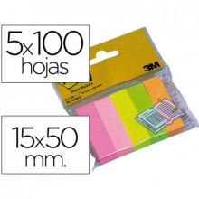 BANDERITA POST-IT 15X50 5 COL.NEON 100H/COL