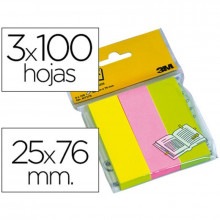 BANDERITA POST-IT 25X76 3 COL.NEON 100H/COL