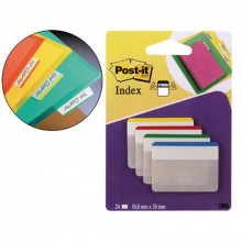 BANDERITA POST-IT RIGIDO PLANO 51X38MM VE/AZ/AM/RO