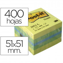 CUBO NOTAS ADH 51X51 POST-IT 2051-L LIMON 400H