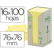 NOTAS ADHESIVAS POST-IT 76X76 RECICLADAS 16U