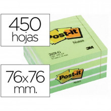 CUBO NOTAS ADHESIVA 76X76 POST-IT 2028G VERDE 450H