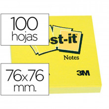 NOTAS ADHESIVAS POST-IT 76X76 AMARILLO 100H