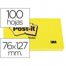 NOTAS ADHESIVAS POST-IT 76X127 AMARILLO 100H