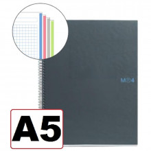 NOTEBOOK A5 CUADRICULA 4 COLORES T/NEGRO 160H