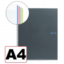 NOTEBOOK A4 CUADRICULA 4 COLORES T/NEGRO 160H