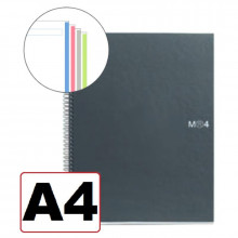 NOTEBOOK A4 LISO 4 COLORES T/NEGRO 160H