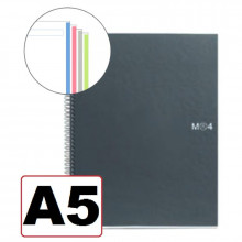 NOTEBOOK A5 LISO 4 COLORES T/NEGRO 160H